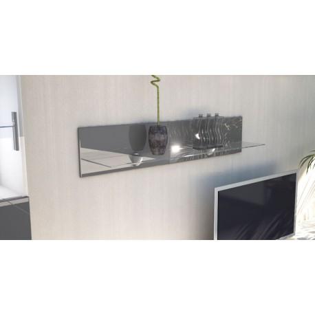 Etagère laquée grise en bois et verre  98 cm avec led