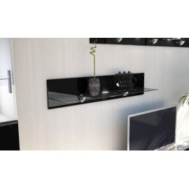 Etagère laquée noir  en bois et verre  98 cm avec led