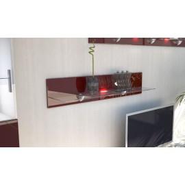 Etagère laquée  bordeaux  en bois et verre  98 cm avec led