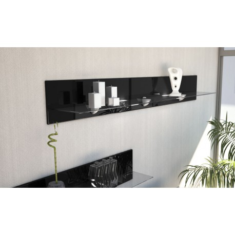 Etagère design en bois et verre noire  avec led 146 cm