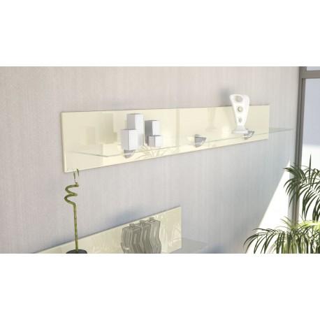 Etagère design en bois et verre crème  avec led 146 cm
