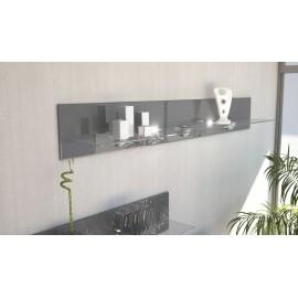 Etagère design en bois et verre grise  avec led 146 cm