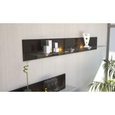 Etagère design en bois et verre chocolat   avec led 146 cm