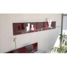 Etagère en bois et verre bordeaux avec led 146 cm