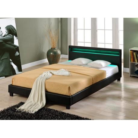 lit en pu noir avec led 160 x 200 cm - Lit 160x200 Avec Led