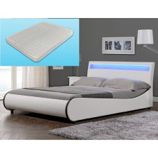 Lit design avec led en PU blanc 140 x 200 cm