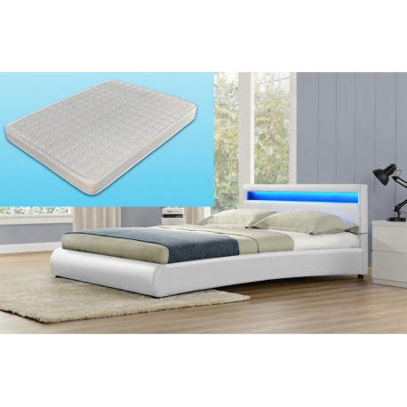 lit avec led en pu blanc 160 x 200 cm - Lit 160x200 Avec Led