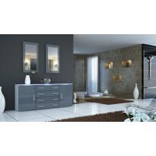Buffet blanc et gris laqué design 166 cm