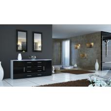 Buffet blanc et  noir laqué design 166 cm