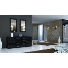 Buffet   noir laqué design 166 cm