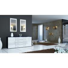 Buffet   noir et blanc  laqué design 166 cm