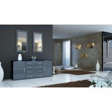 Buffet   noir et gris laqué design 166 cm