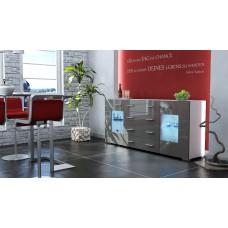 Buffet design laqué blanc et gris portes vitrées avec led 166 cm