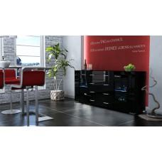 Buffet design laqué noir portes vitrées avec led 166 cm