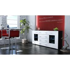 Buffet design laqué noir et blanc  portes vitrées avec led 166 cm