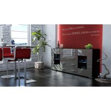 Buffet design laqué noir et gris portes vitrées avec led 166 cm