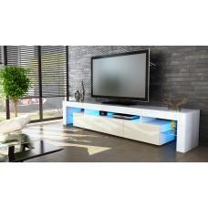 Meuble tv blanc 199 cm avec led