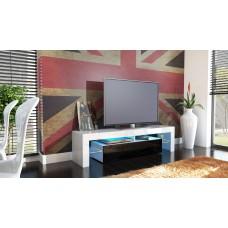 Meuble tv blanc et noir  avec led 151 cm