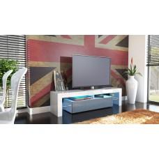 Meuble tv blanc et gris  avec led 151 cm