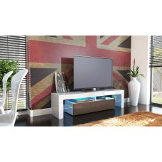 Meuble tv blanc et chocolat  avec led 151 cm