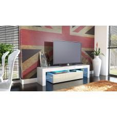 Meuble tv blanc et crème  avec led 151 cm