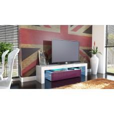 Meuble tv blanc et mûre  avec led 151 cm