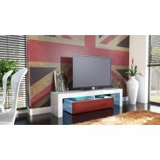 Meuble tv blanc et  bordeaux  avec led 151 cm