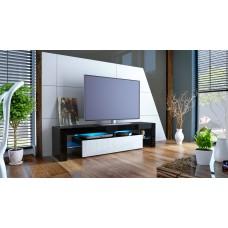 Meuble tv noir et blanc   avec led 151 cm