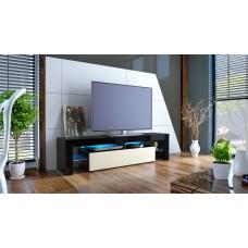 Meuble tv noir et crème  avec led 151 cm