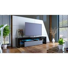 Meuble tv noir et gris  avec led 151 cm