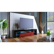 Meuble tv noir et bordeaux avec led 151 cm