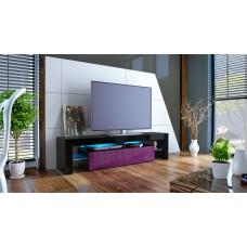 Meuble tv noir et mûre avec led 151 cm