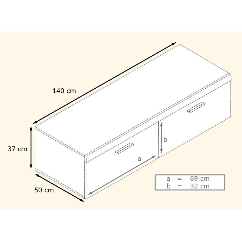 Meuble Tv Bas Dimension : Meuble-tv-bas-blanc-et-gris-laque-140-cm-meuble-tv-bas-a-2-abattants