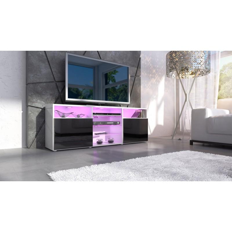 Meuble design tv blanc et noir avec led - Meuble blanc et noir ...