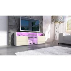 meuble design tv blanc et crème avec led