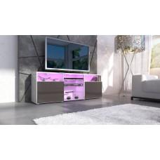 meuble design tv blanc et chocolat avec led