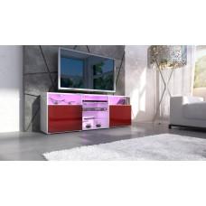 meuble design tv blanc et  bordeaux avec led