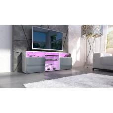 meuble design tv blanc et  gris  avec led
