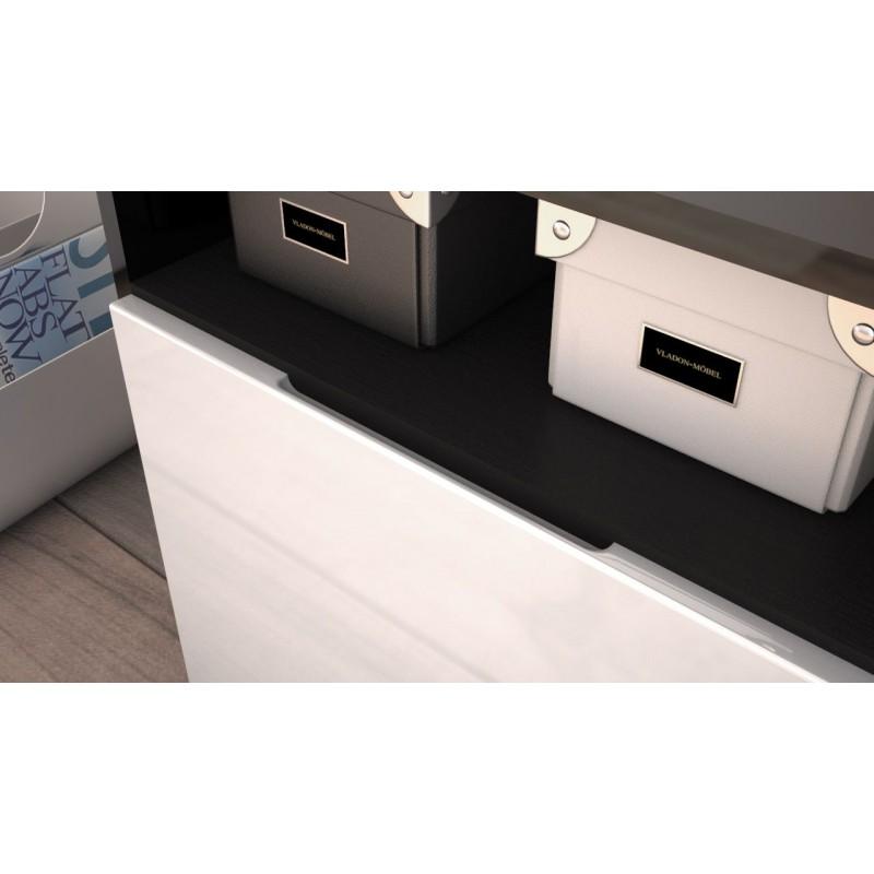 Meuble Tv Bas A Led : Meuble-design-tv-noir-et-gris-avec-led-meuble-tv-bas-a-2-portes-et-des