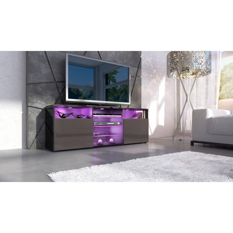 Meuble Tv Design Ibiza A Led : Meuble-design-tv-noir-et-chocolat-avec-led-meuble-tv-bas-a-2-portes-et