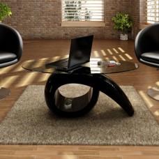 Table basse brillante avec plateau en verre noire