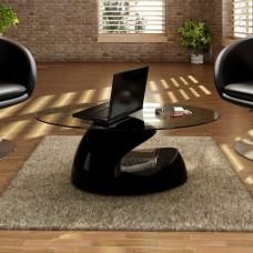 Table basse brillante avec base creuse noire