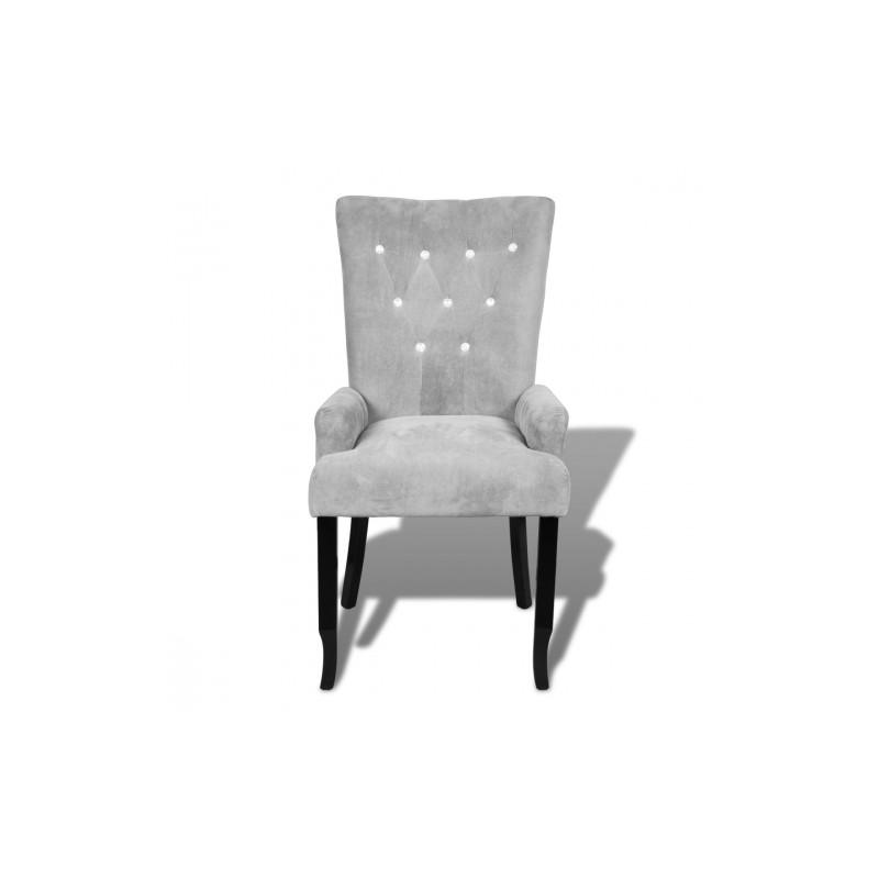 chaise capitonn e velours gris. Black Bedroom Furniture Sets. Home Design Ideas