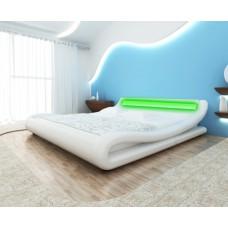 Lit design 140 x 200 cm blanc avec éclairage led