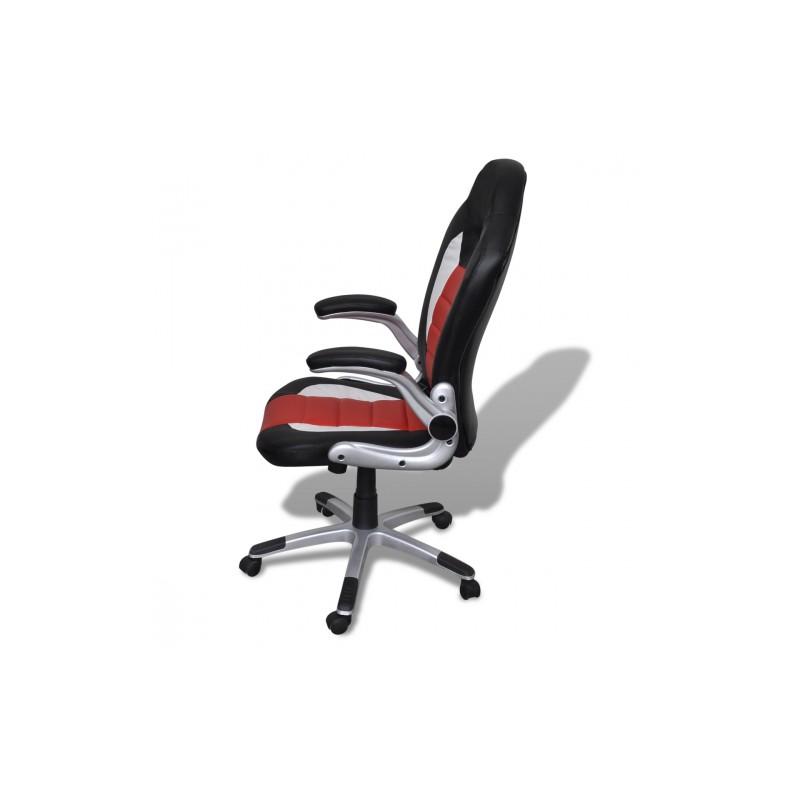 fauteuil de bureau design en simili cuir rouge et noir. Black Bedroom Furniture Sets. Home Design Ideas