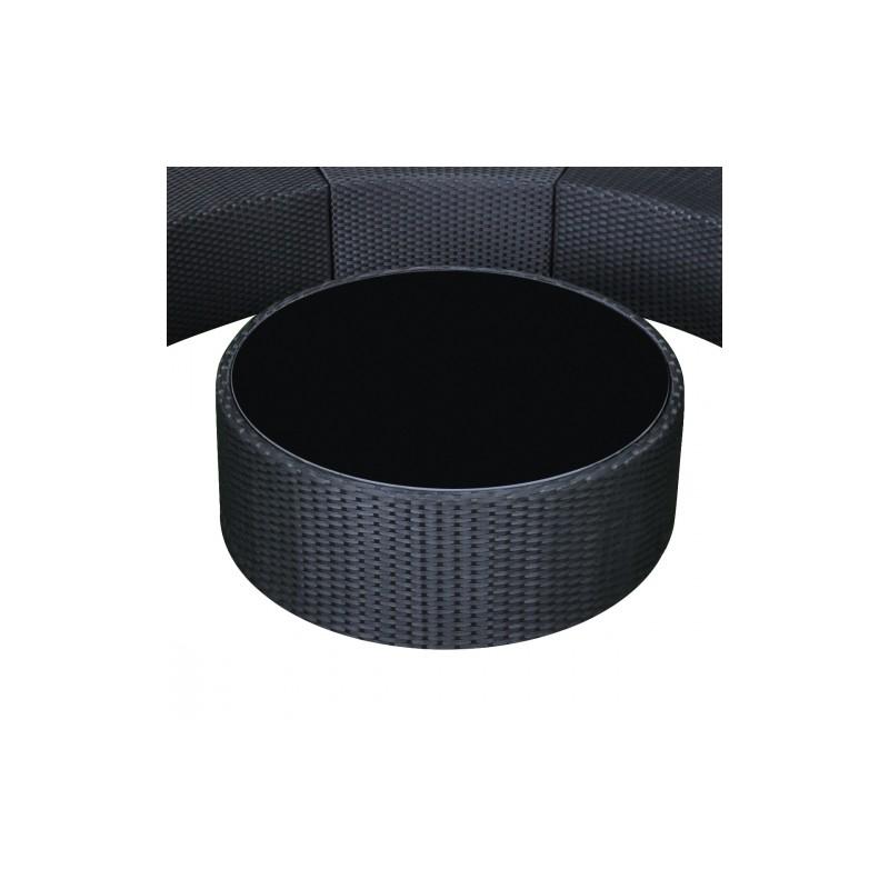 Salon de jardin en poly rotin en demi cercle noir - Salon de jardin en rotin demi cercle noir ...