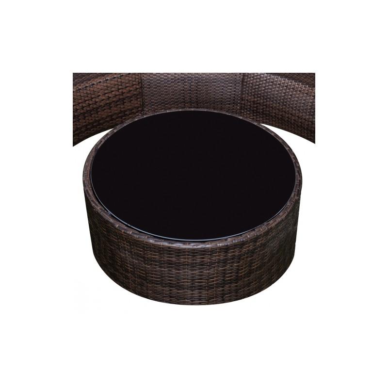 Salon de jardin en plu rotin en demi cercle noir - JA Discount
