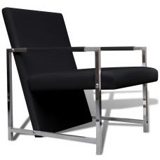 Chaise design noir avec pieds chromés