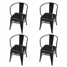 Ensemble de 4 chaises design noires