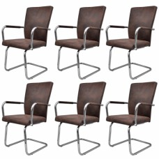 Ensemble de 6 chaises marrons en PU